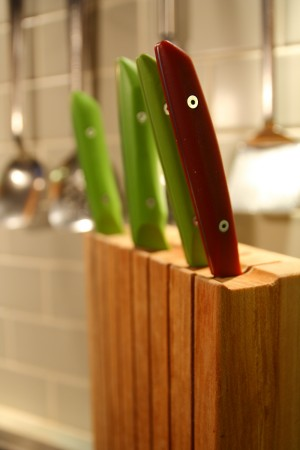 Paring knives and chef's knife in knife block