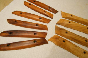 Finished Trillium and raw Salal handles in pacific yew wood